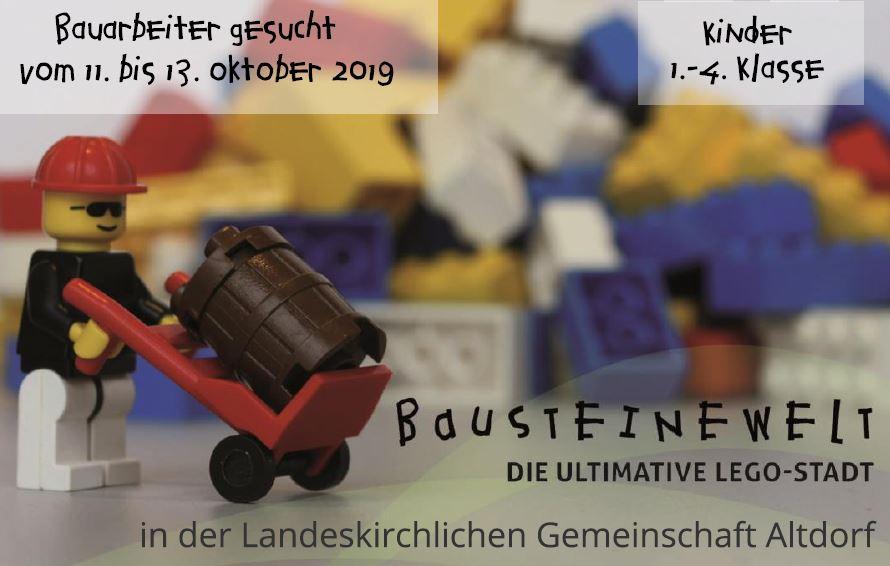 Lego-Bauarbeiter mit Legosteinen